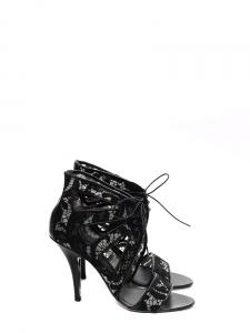 Sandales à talon en cuir et dentelle noire Px boutique 640€ Taille 37