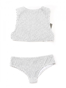 Maillot de bain deux pièces OKINAWA et PATNEM texturé noir et blanc NEUF Px boutique 377€ Taille XS