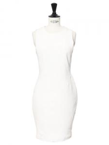 Robe sans manches en crêpe stretch blanc ivoire Px boutique 395€ Taille 36