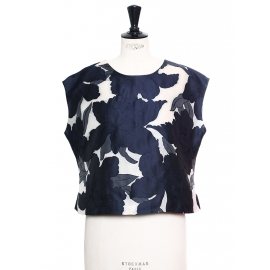 Navy blue and white silk and cotton blend oversized cropped top Retail price €700 Size 38