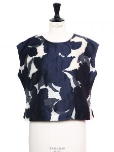 Haut court ample en soie et coton mélangé bleu marine et blanc Px boutique 700€ Taille 38