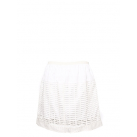 White cut-out cotton high waisted skirt Retail price €800 Size 40