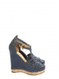Sandales compensées en liège, cuir et denim bleu marine Px boutique 590€ Taille 37