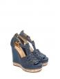 Sandales compensées en liège, cuir et denim bleu marine Px boutique 590€ Taille 36,5