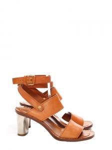 Sandales BAM BAM double bride en cuir fauve et talon argent Px boutique 650€ Taille 37