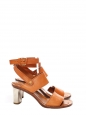 BAM BAM tan leather silver heeled sandals Retail price €650 Size 39