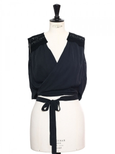 Black lace and silk sleeveless cropped top Retail price €650 Size 36
