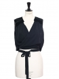 Midnight blue lace and silk sleeveless cropped top Retail price €650 Size 36