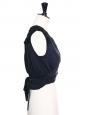 Cropped top sans manches en dentelle et soie noir Px boutique 650€ Taille 36