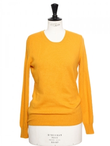 Pull col rond manches longues en cachemire jaune abricot Px boutique 200€ Taille 36
