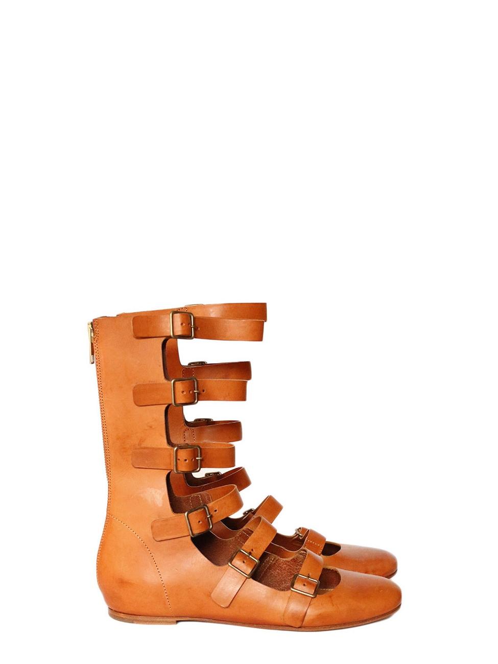 Ballerines montantes plates gladiateur en cuir camel NEUVES Px boutique  600€ Taille 39 3eae26f2c77