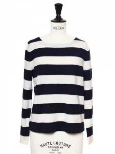 Navy blue and white striped jersey long sleeved fine sweater NEW Retail price €150 Size S