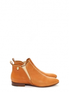 PIPER tan camel leather elasticated side flat ankle boots Retail price €550 Size 39.5