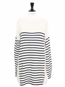 Navy blue and white striped wool oversize sweater Retail price €550 Size M