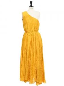 Robe asymétrique en coton plissé jaune safran Px boutique 400€ Taille 38