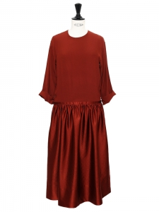 Garnet red silk crepe and damask dress NEW Retail price €1300 Size 34