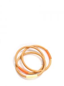 Bracelets fin en bois naturel détail orange et écru Taille unique