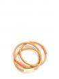 Wood fine bracelets with orange and ecru detail Unique size