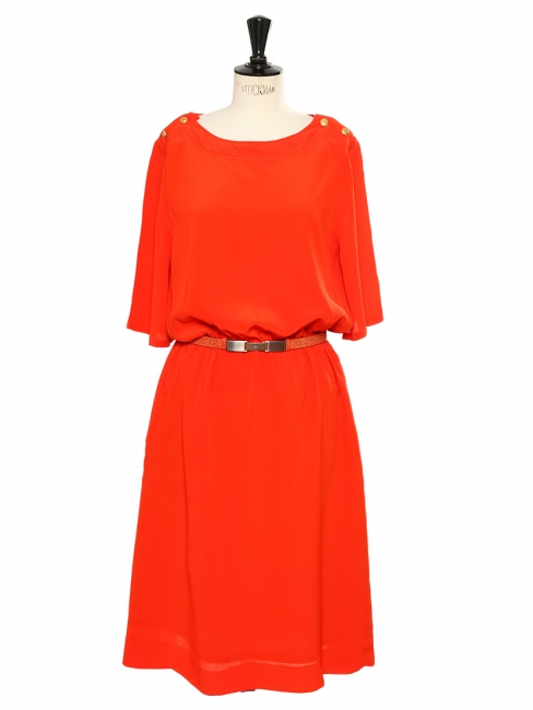 Bright red crepe silk dress with gold buttons Retail price €1000 Size L