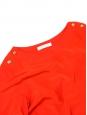 Robe manches 3/4 en crêpe de soie rouge vif et boutons dorés Px boutique 1000€ Taille 40