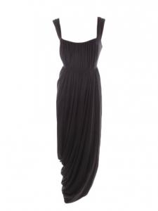 Robe longue à bretelles en jersey plissé noir Taille 38/40
