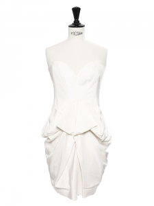 White draped silk strapless dress Retail price €1435 Size 34