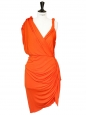 Orange draped Grecian cocktail dress Retail price €2050 Size 38/40