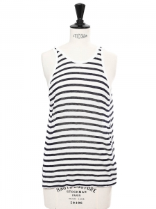 Black and white striped linen-blend tank top Retail price €150 Size 36