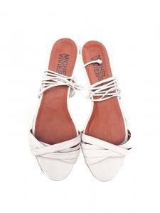 Sandales plates Spartan en cuir blanc NEUVES Px boutique 350€ Taille 40,5