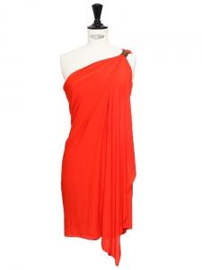 Vibrant red stretch jersey asymmetric dress Retail price €550 Size 36