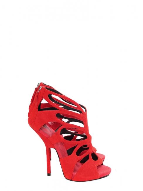 Sandales à talon stiletto en suède découpé rouge corail NEUVES Px boutique 1000€ Taille 37,5