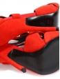 Sandales à talon stiletto en suède découpé rouge coquelicot NEUVES Px boutique 1100€ Taille 37,5