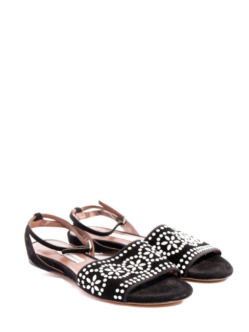 Black suede beaded flat sandals NEW Retail price €500 Size 37.5