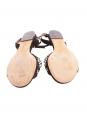 Sandales plates en suède noir ornées de perles blanches NEUVES Px boutique 500€ Taille 37,5