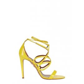 Bright yellow patent leather GIGI stiletto heeled sandals Retail price 595€ Size 37