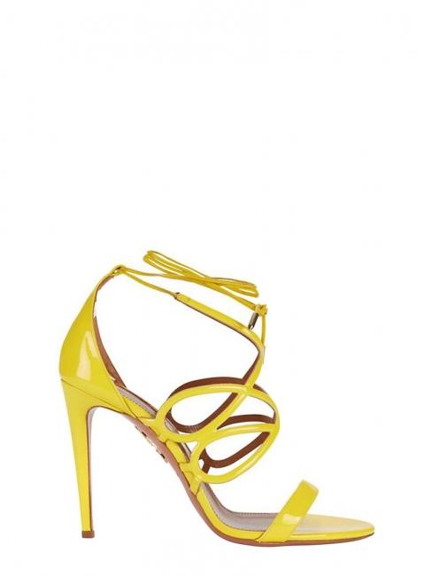 Sandales stiletto GIGI en cuir verni jaune soleil Px boutique 595€ Taille 37