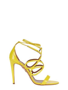 Bright yellow patent leather GIGI stiletto heeled sandals Retail price $850 Size 37