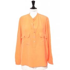 Blouse ESTELLE en soie fine orange mandarine Px boutique 510€ Taille 36/38