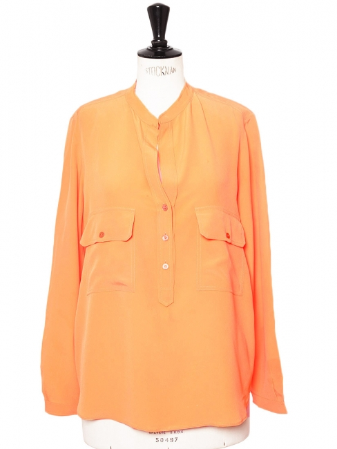 Tangerine orange fine silk ESTELLE blouse Retail price €510 Size 36/38