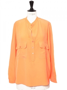 Tangerine orange fine silk ESTELLE blouse Retail price €510 Size 38