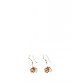 Boucles d'oreilles pendantes fleurs en cuivre doré Px boutique 250€
