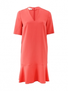 Coral pink jersey short sleeves v neck dress Retail price €600 Size XS