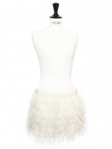 Ivory white silk and ostrich feather ASHLEY mini skirt Retail price €230 Size 38
