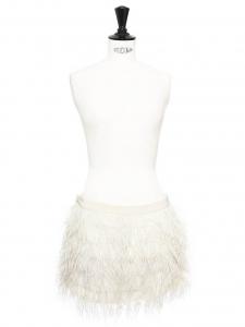 Mini jupe ASHLEY en soie et plumes d'autruche blanc ivoire Px boutique 230€ Taille 38