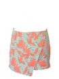 Coral, green, grey striped jacquard wrap mini skirt Retail price €400 Size 38