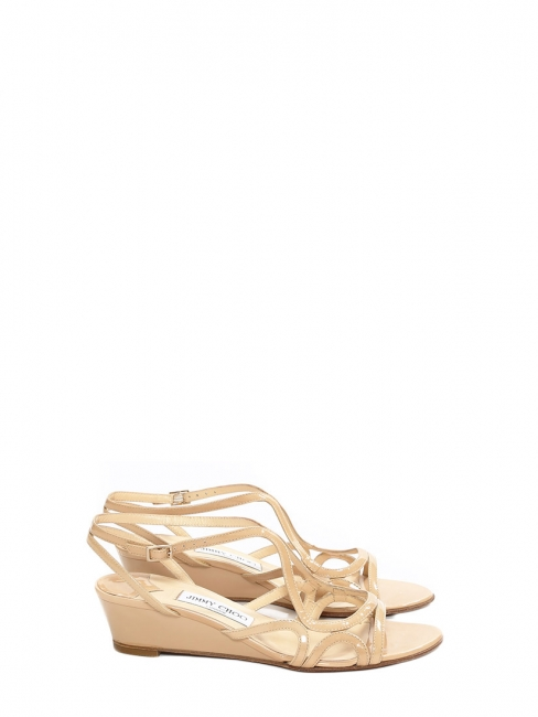 Nude beige patent leather low wedge heel sandals Retail price €500 Size 39