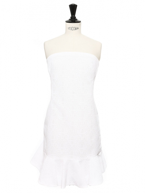 Crisp white textured ruffled strapless cocktail dress Retail price €1200 Size 36