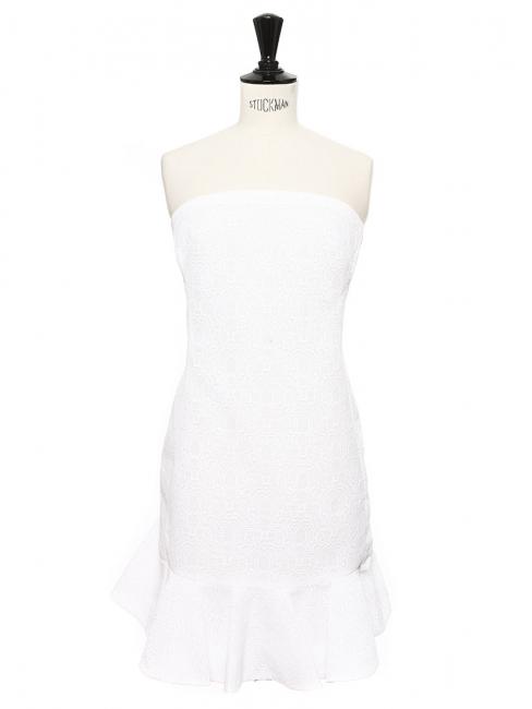 Robe bustier à volant en tissu texturé blanc Prix boutique 1200€ Taille 36