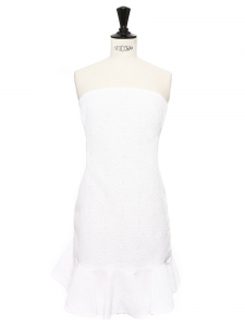 Crispy white textured ruffled strapless cocktail dress Retail price €1200 Size 36