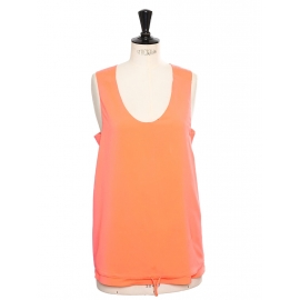 Débardeur bretelles larges en soie orange fluo Px boutique 350€ Taille M